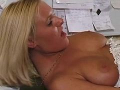 Busty secretary screwed in office