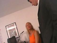 Blonde secretary drilled on chair