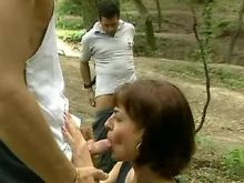Hot chick enjoy group sex in forest