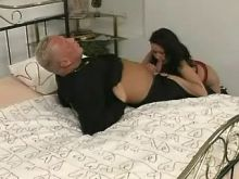 Sexy brunette chick fucking on bed