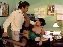Horny chick make anal sex in office