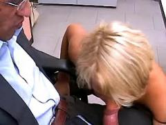 Two bosses sharing blonde secretary