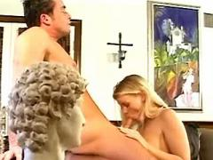 Blonde secretary gets cum in mouth