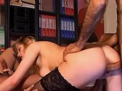 Horny secretary gets double cumload