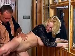 Blonde secretary dances on big cock