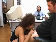 Hot secretary sucks cocks in office