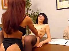 Two lusty office sluts seduces boss