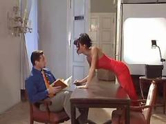 Horny secretary in red seduces boss