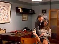 Boss fucks horny secretary on table