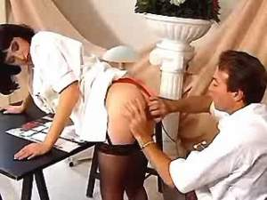 Horny doctor fucking nurse on table