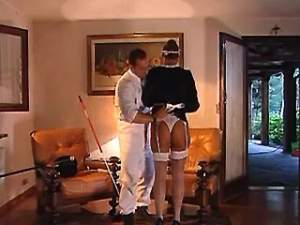 Lewd master fucks maid in stockings