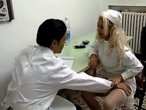 Hot blonde nurse sucks doctors cock