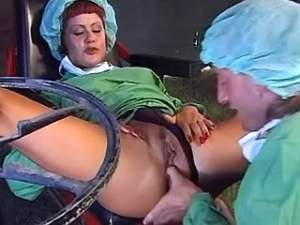 Redhead nurse gets cum on big boobs in hospital