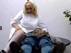 Mature blonde nurse in stockings plays with cock