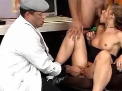 Horny men share young innocent secretary in office