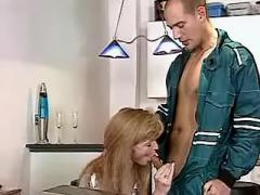 Boss hard fucks mature blond secretary after work