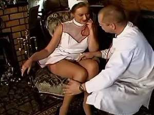 Hot lewd nurse in stockings seduces horny doctor