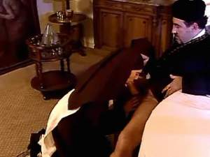 Two young lustful nuns seduce and suck horny padre