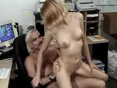 Lewd secretary fucks with old boss and gets cum