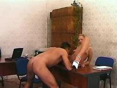 Depraved blonde secretary jumps on dick in office