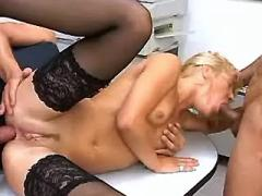 Horny men jizz by turns in secretaries deep throat