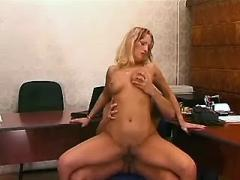 Lustful secretary gets cum on face from hunk boss