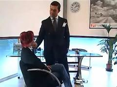 Beautiful redhead secretary sucks big cock of boss