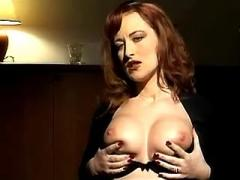 Redhead secretary deep throats fat cock on knees