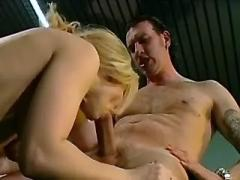 Mature blonde secretary deep throats cock of boss