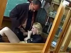 Hot secretary in boots hard fucked in doggy style