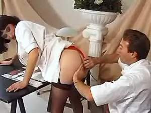 Nurse in stockings has fun with doctor after work