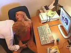 Young secretary fucks and gets cumload in office
