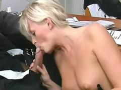 Milf blonde secretary fucked and cummed in office