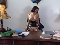 Boss fucking beautiful office girl in stockings