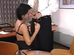 Sexy brunette secretary analfucks and gets facial