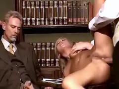 Young secretary rides cock and gets cum in orgy
