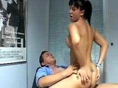 Lusty office lady gets deep assfuck from boss