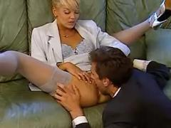 Secretary caresses balls of boss and sucks cock