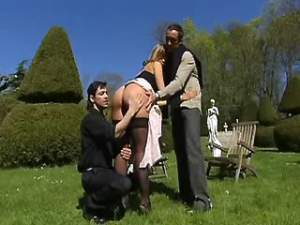 Men fuck cute maidservant in all holes outdoor
